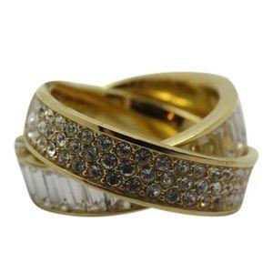 Nwt Michael Kors Gold Tone Pave Baguette Ring Sz 7